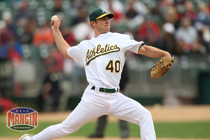 OAKLAND, CA - APRIL 2:  Rich Harden of the Oakland Athletics pitches during the game against the Boston Red Sox at the McAfee Coliseum in Oakland, California on April 2, 2008.  The Red Sox defeated the Athletics 5-0.  Photo by Brad Mangin