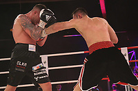 19th December 2020, Hamburg, Germany; Universal Boxing Promotion fight, Felix Sturm versus Timo Rost; Rost with a left body jab