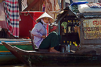 Floating liquor store in the Vietnamese floating village of Chong Kneas on lake Tonle Sap - Siem Reap, Cambodia......