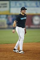 Danville Otterbots third baseman Caleb Cali (8) (Hillsborough) on defense against the Burlington Sock Puppets at Burlington Athletic Park on June 5, 2021 in Burlington, North Carolina. (Brian Westerholt/Four Seam Images)