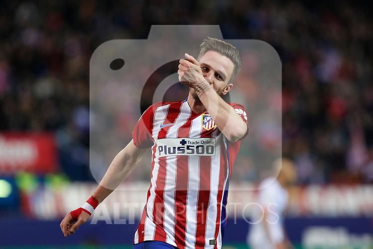 Atletico de Madrid´s Saul Niguez celebrates a goal (1-0) during 2015-16 La Liga match between Atletico de Madrid and Deportivo de la Coruna at Vicente Calderon stadium in Madrid, Spain. March 12, 2016. (ALTERPHOTOS/Victor Blanco)