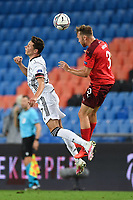 6th August 2020, Basel, Switzerland. UEFA National League football, Switzerland versus Germany;   Julian Draxler (ger) loses out to the header from Silvan Widmer (sui)