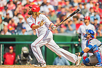 15 June 2016: Washington Nationals outfielder Jayson Werth in action against the Chicago Cubs at Nationals Park in Washington, DC. The Nationals defeated the Cubs 5-4 in 12 innings to take the rubber match of their 3-game series. Mandatory Credit: Ed Wolfstein Photo *** RAW (NEF) Image File Available ***