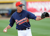 11 April 2008: Infielder Mike Rozema (5) of the Mississippi Braves, Class AA affiliate of the Atlanta Braves, in a game against the Mobile BayBears at Trustmark Park in Pearl, Miss. Photo by:  Tom Priddy/Four Seam Images