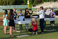 The Knollwood Elementary Hand Bell Group played the National Anthem prior to the South Atlantic League game between the Asheville Tourists and the Kannapolis Intimidators at Kannapolis Intimidators Stadium on May 8, 2017 in Kannapolis, North Carolina.  The Tourists defeated the Intimidators 7-5.  (Brian Westerholt/Four Seam Images)
