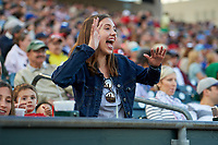 Buffalo Bisons young fan during a game against the Syracuse Chiefs on July 3, 2017 at Coca-Cola Field in Buffalo, New York.  Buffalo defeated Syracuse 6-2.  (Mike Janes/Four Seam Images)