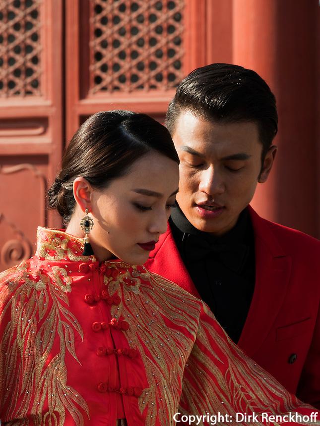 Brautpaar im Kulturpalast der Werktätigen, Peking, China, Asien<br /> Bridal Couple in Cultural Palace of the working peopleim, Beijing, China, Asia