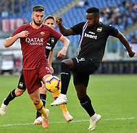 Bryan Cristante of AS Roma and Ronaldo Vieira of Sampdoria compete for the ball during the Serie A 2018/2019 football match between AS Roma and UC Sampdoria at stadio Olimpico, Roma, November, 11, 2018 <br />  Foto Andrea Staccioli / Insidefoto