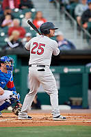 Scranton/Wilkes-Barre RailRiders first baseman Mike Ford (25) at bat in front of catcher Danny Jansen (9) during a game against the Buffalo Bisons on May 18, 2018 at Coca-Cola Field in Buffalo, New York.  Buffalo defeated Scranton 5-1.  (Mike Janes/Four Seam Images)