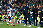 Atletico del Madrid´s Arda Turan receives a red card during quarterfinal second leg Champions League soccer match at Santiago Bernabeu stadium in Madrid, Spain. April 22, 2015. (ALTERPHOTOS/Victor Blanco)