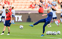 HOUSTON, TX - JUNE 10: Jane Campbell #18 of the United States warms up before a game between Portugal and USWNT at BBVA Stadium on June 10, 2021 in Houston, Texas.
