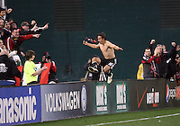 Josh Wolfe#16 of D.C. United after scoring during the opening match of the 2011 season against the Columbus Crew at RFK Stadium, in Washington D.C. on March 19 2011.D.C. United won 3-1.