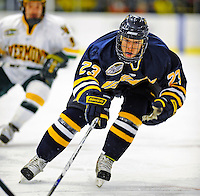 16 November 2008: Merrimack College Warriors' forward Chris Barton, a Sophomore from Calgary, Alberta, in action against the University of Vermont Catamounts at Gutterson Fieldhouse, in Burlington, Vermont. The Catamounts defeated the Warriors 2-1 in front of a near-capacity crowd of 3,813...Mandatory Photo Credit: Ed Wolfstein Photo