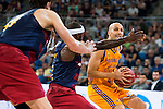 Herbalife Gran Canaria's player Albert Oliver and FC Barcelona Lassa player Ante Tomic and Tyrese Rice during the final of Supercopa of Liga Endesa Madrid. September 24, Spain. 2016. (ALTERPHOTOS/BorjaB.Hojas)