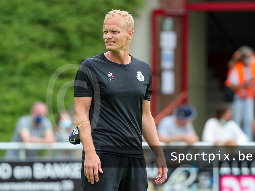 Assistant coach Karel Geraerts of Union pictured during the warm up before a preseason friendly soccer game between Tempo Overijse and Royale Union Saint-Gilloise, Saturday 29th of June 2021 in Overijse, Belgium. Photo: SPORTPIX.BE   SEVIL OKTEM