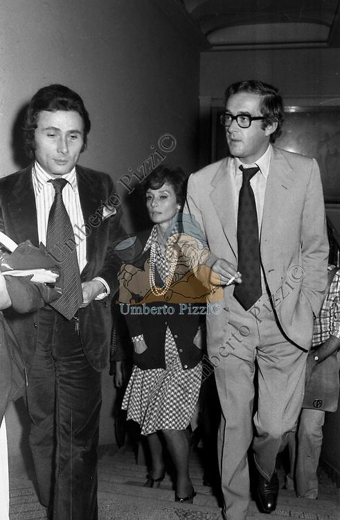 ALBERTO ARBASINO CON ANDREA DOTTI E AUDREY HEPBURN<br /> ROMA 1973
