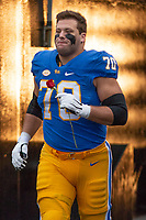 Pitt offensive lineman Stefano Millin gets introduced on senior day.The Pitt Panthers defeated the Virginia Tech Hokies 52-22 on November 10, 2018 at Heinz Field in Pittsburgh, Pennsylvania.