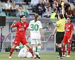 Hungarian referee Katalin Kulcsar show yellow card to Olympique Lyonnais' Saki Kumagai during UEFA Women's Champions League 2015/2016 Final match.May 26,2016. (ALTERPHOTOS/Acero)