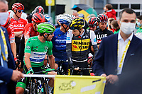 4th July 2021; Tignes, France;  CAVENDISH Mark (GBR) of DECEUNINCK - QUICK-STEP and VINGEGAARD Jonas (DEN) of JUMBO-VISMA during stage 9 of the 108th edition of the 2021 Tour de France cycling race, a stage of 144,9 kms between Cluses and Tignes on July 4