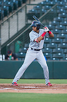 AZL Indians 2 third baseman Jonathan Lopez (15) at bat during an Arizona League game against the AZL Angels at Tempe Diablo Stadium on June 30, 2018 in Tempe, Arizona. The AZL Indians 2 defeated the AZL Angels by a score of 13-8. (Zachary Lucy/Four Seam Images)