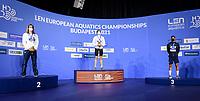 50m Backstroke Men<br /> Podium<br /> Gold Medal<br /> KOLESNIKOVKliment RUS<br /> Silver Medal<br /> GLINTARobert-Andrei ROU<br /> Bronze Medal<br /> GONZALEZ DE OLIVEIRAH. ESP<br /> Swimming<br /> Budapest  - Hungary  18/5/2021<br /> Duna Arena<br /> XXXV LEN European Aquatic Championships<br /> Photo Giorgio Scala / Deepbluemedia / Insidefoto
