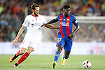 FC Barcelona's Samuel Umtiti (r) and Sevilla FC's Wistam Ben Tedder during Supercup of Spain 2nd match.August 17,2016. (ALTERPHOTOS/Acero)