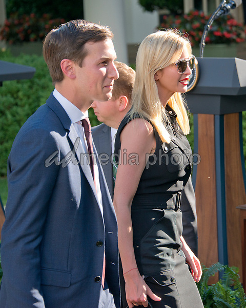 Senior Advisor Jared Kushner and Assistant to the President Ivanka Trump depart after United States President Donald J. Trump and  Prime Minister Narendra Modi of India delivering joint statements in the Rose Garden of the White House in Washington, DC on Monday, June 26, 2017. Photo Credit: Ron Sachs/CNP/AdMedia