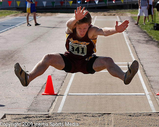 RAPID CITY, SD - MAY 30, 2009 :   Lukas Butkus of Freeman Academy participates in the long jump event at the 2009 South Dakota State High School Track and Field Meet in Rapid City Saturday. (Photo by Dick Carlson/Inertia)