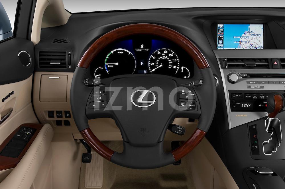 Steering wheel view of a 2010 Lexus RX 450h