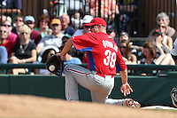 Philadelphia Phillies Robb Quinlan #39 during a spring training game against the Baltimore Orioles at Bright House Field in Clearwater, Florida;  March 6, 2011.  Photo By Mike Janes/Four Seam Images