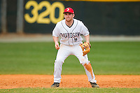 Davidson Wildcats third baseman David Daniels (8) on defense against the Western Carolina Catamounts at Wilson Field on March 10, 2013 in Davidson, North Carolina.  The Catamounts defeated the Wildcats 5-2.  (Brian Westerholt/Four Seam Images)