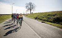 Maarten Tjallingii (NLD/LottoNL-Jumbo) leading the peloton<br /> <br /> Omloop Het Nieuwsblad 2015