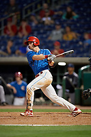 Clearwater Threshers Madison Stokes (17) bats during a Florida State League game against the Tampa Tarpons on April 18, 2019 at Spectrum Field in Clearwater, Florida.  Clearwater defeated Tampa 10-3.  (Mike Janes/Four Seam Images)