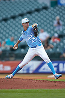 North Carolina Tar Heels relief pitcher Taylor Sugg (25) in action against the Florida State Seminoles in the 2017 ACC Baseball Championship Game at Louisville Slugger Field on May 28, 2017 in Louisville, Kentucky. The Seminoles defeated the Tar Heels 7-3. (Brian Westerholt/Four Seam Images)