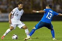 SAN SALVADOR, EL SALVADOR - SEPTEMBER 2: Konrad de la Fuente #20 of the United States moves with the ball during a game between El Salvador and USMNT at Estadio Cuscatlán on September 2, 2021 in San Salvador, El Salvador.