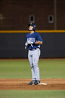 AZL Padres 2 third baseman Luis Roman (28) stands on second base after a ground-rule double during a game against the AZL Rangers on August 2, 2017 at the Texas Rangers Spring Training Complex in Surprise, Arizona. Padres 2 defeated the Rangers 6-3. (Zachary Lucy/Four Seam Images)