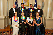The five recipients of the 40th Annual Kennedy Center Honors pose for a group photo following a dinner hosted by United States Secretary of State Rex Tillerson in their honor at the US Department of State in Washington, D.C. on Saturday, December 2, 2017.  From left to right back row: US Secretary of State Rex Tillerson, LL Cool J, Lionel Richie, and David M. Rubenstein, Chairman, John F. Kennedy Center for the Performing Arts.  Front row, left to right: Carmen de Lavallade, Norman Lear, Gloria Estefan and Deborah F. Rutter, President of the John F. Kennedy Center for the Performing Arts.  The 2017 honorees are: American dancer and choreographer Carmen de Lavallade; Cuban American singer-songwriter and actress Gloria Estefan; American hip hop artist and entertainment icon LL COOL J; American television writer and producer Norman Lear; and American musician and record producer Lionel Richie.  <br /> Credit: Ron Sachs / Pool via CNP