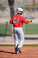 Ray Huggins (54), from Seaside, California, while playing for the Cardinals during the Under Armour Baseball Factory Recruiting Classic at Red Mountain Baseball Complex on December 29, 2017 in Mesa, Arizona. (Zachary Lucy/Four Seam Images)