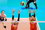 Ni Yan (L) and Ting Zhu of China (R) blocks during the FIVB Volleyball Nations League Hong Kong match between China and Argentina on May 29, 2018 in Hong Kong, Hong Kong. Photo by Marcio Rodrigo Machado / Power Sport Images