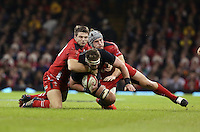 Pictured: Kieran Read of New Zealand (C) is brought down by Dan Biggar (L) and Jonathan Davies (R) of Wales Saturday 22 November 2014<br />