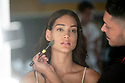 Model Evelyn Yanez in the backstage during the Swimwear Fashion Week at Expomeloneras in Maspalomas, Gran Canaria Island, Canary Islands on October 3, 2019.