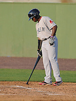 "Outfielder Jackie Bradley Jr. (16) of the Salem Red Sox draws an ""MS"" in the dirt beside the batter's box in a game against the Potomac Nationals on June 8, 2012, at Pfitzner Stadium in Woodbridge, Virginia. Potomac won the first game of a doubleheader, 5-4. Bradley is the No. 10 Boston prospect, according to Baseball America. (Tom Priddy/Four Seam Images)"