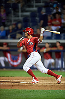 Williamsport Crosscutters second baseman Jake Scheiner (3) flies out during a game against the Mahoning Valley Scrappers on July 8, 2017 at BB&T Ballpark at Historic Bowman Field in Williamsport, Pennsylvania.  Williamsport defeated Mahoning Valley 6-1.  (Mike Janes/Four Seam Images)