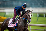 April 25, 2021: Paulines Pearl gallops  in preparation for the Kentucky Oaks at Churchill Dows in Louisville, Kentucky on April 25, 2021. EversEclipse Sportswire/CSM