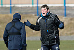 St Johnstone Training….15.03.19<br />Manager Tommy Wright pictured during a short sprint competion with Danny Swanson in training this morning at McDiarmid Park ahead of tomorrow's game against St Mirren.<br />Copyright Perthshire Picture Agency<br />Tel: 01738 623350  Mobile: 07990 594431