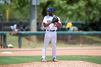 AZL Dodgers relief pitcher Nelfri Contreras (59) gets ready to deliver a pitch during an Arizona League game against the AZL Padres 2 at Camelback Ranch on July 4, 2018 in Glendale, Arizona. The AZL Dodgers defeated the AZL Padres 2 9-8. (Zachary Lucy/Four Seam Images)