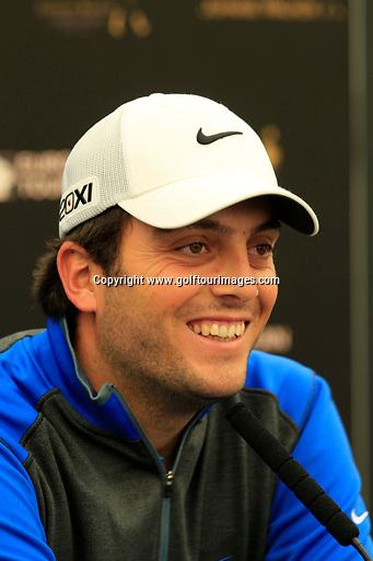 Francesco Molinari (ITA) speak to the media ahead of the 2013 Johnnie Walker Championship being played over the PGA Centenary Course, Gleneagles, Perthshire from 22nd to 25th August 2013: Picture Stuart Adams www.golftourimages.com: 21st August 2013