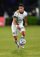 LAKE BUENA VISTA, FL - AUGUST 01: Marvin Loría #44 of the Portland Timbers dribbles the ball during a game between Portland Timbers and New York City FC at ESPN Wide World of Sports on August 01, 2020 in Lake Buena Vista, Florida.