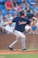 Kinston outfielder Jordan Brown follows through on his swing versus Winston-Salem at Ernie Shore Field in Winston-Salem, NC, Tuesday, July 4, 2006.  The Warthogs defeated the Indians 3-2.