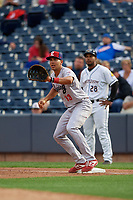 Reading Fightin Phils first baseman Darick Hall (13) stretches for a throw during an Eastern League game against the Akron RubberDucks on June 4, 2019 at Canal Park in Akron, Ohio.  Akron defeated Reading 8-5.  (Mike Janes/Four Seam Images)